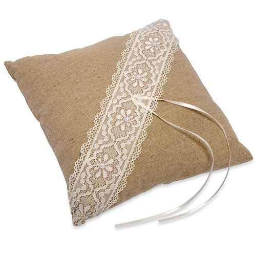 Linen & Lace Square Ring Cushion 210 x 210mm (H031)