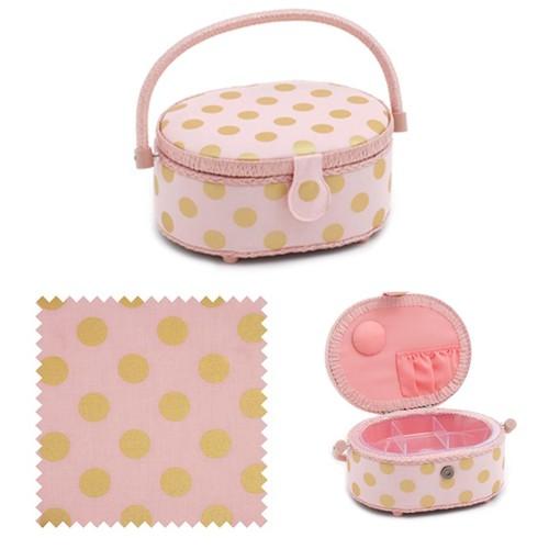 Blush & Gold Dot Oval Sewing Basket (d/w/h): 10 x 23 x 18cm (HGSO310)