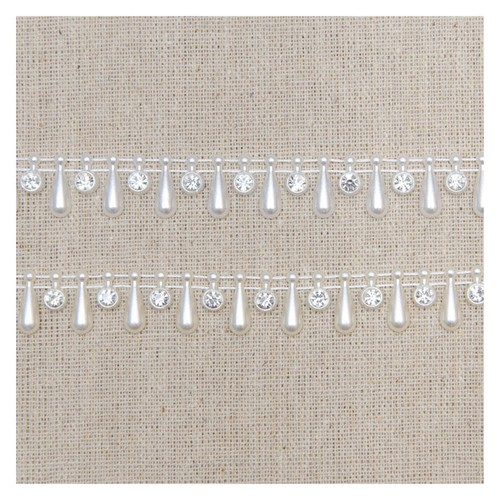15mm Pearl Drop & Diamante Trim App x 5Y (HK0835) (Ivory)