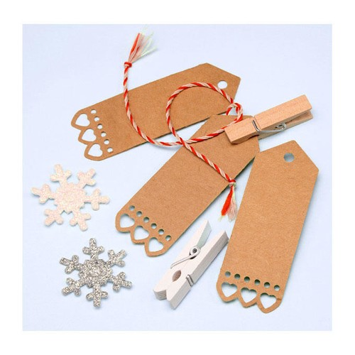Small Gift Tag with Heart Edge Detail (10p) (HY004)(White)
