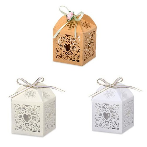 75mm Laser Cut Favour Boxes 50 x 50 x (HY012) x 10 pieces