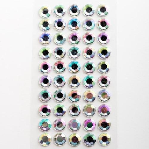 10mm Stick-on Iridescent Diamante Sheet 50 Pieces (IO-AD-10D-IRID)