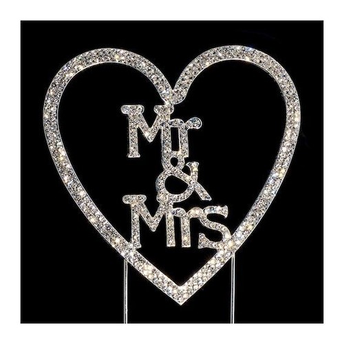 Mr & Mrs Heart Diamante Cake Topper (IO-DT-15)
