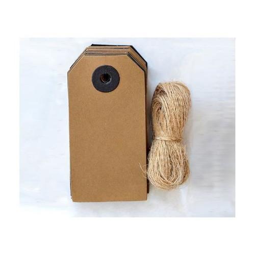 Kraft & Black Tags with Jute String 24pcs 8x4cm (IO-HM008)
