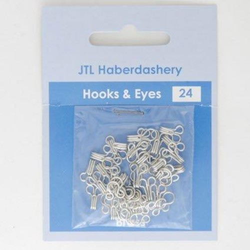 (JTL200) Silver Hook and Eyes Size 0