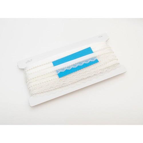 25mm 10mm x 10m Pearl Lace Ribbon (KM4948)