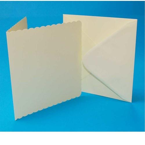 Cards & Envelopes 6 x 6 Ivory Scalloped 50 Pack (LINE1012)
