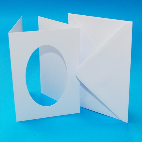 10 x A6 3 Fold Oval Aperture Cards & Envelopes White (LINE10654)