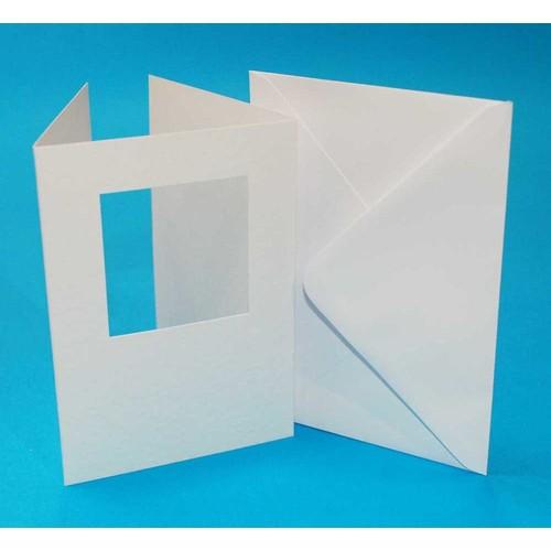 10 x A6 3 Fold Square Aperture Cards & Envelopes White (LINE10662)