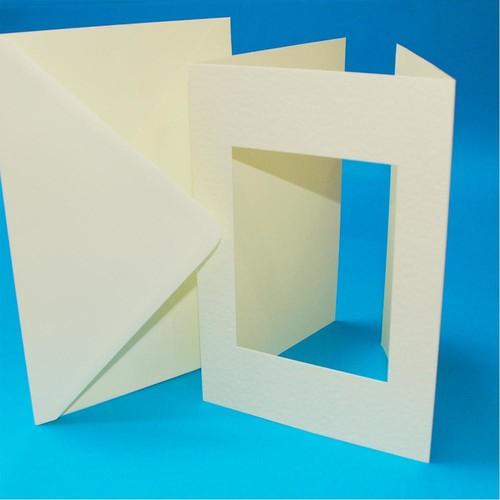 10 x A5 3 Fold Rectangular Aperture Cards & Envelopes Ivory (LINE10766)
