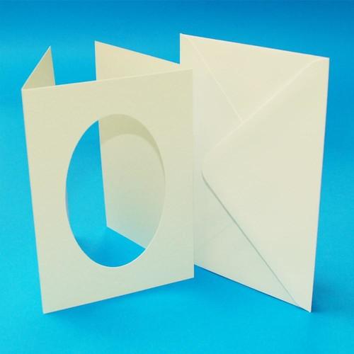10 x A6 3 Fold Oval Aperture Cards & Envelopes Ivory Hammered (LINE10818)