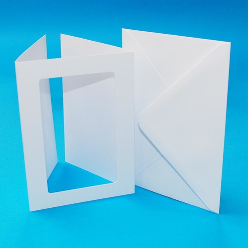 10 x A6 3 Fold Rectangular Aperture Cards & Envelopes White Hammered (LINE10828)