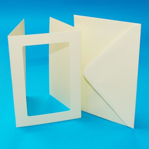 10 x A6 3 Fold Rectangular Aperture Cards & Envelopes Ivory Hammered (LINE10829)