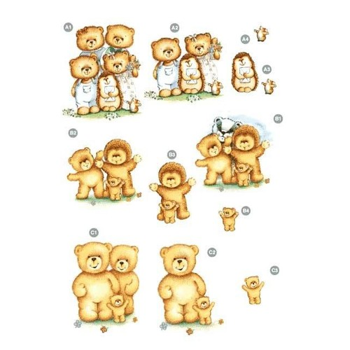 Die Cut Decoupage Teddy Bear Family (LINE127)
