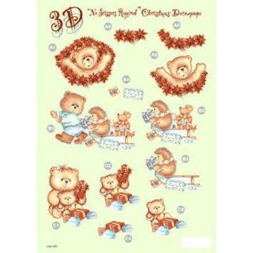 Die Cut Decoupage Christmas Teddy (LINE503)