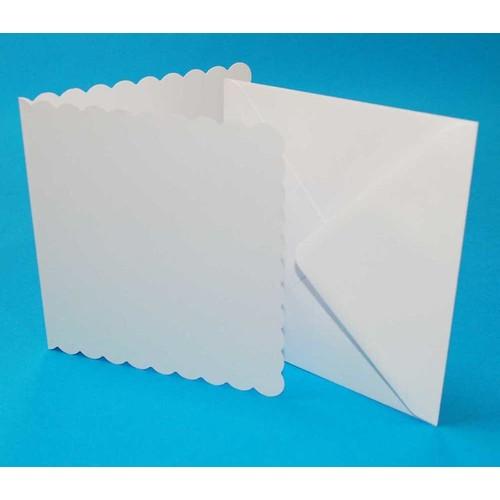 Cards & Envelopes 5 x 5 White Scalloped 50 Pack (LINE834)
