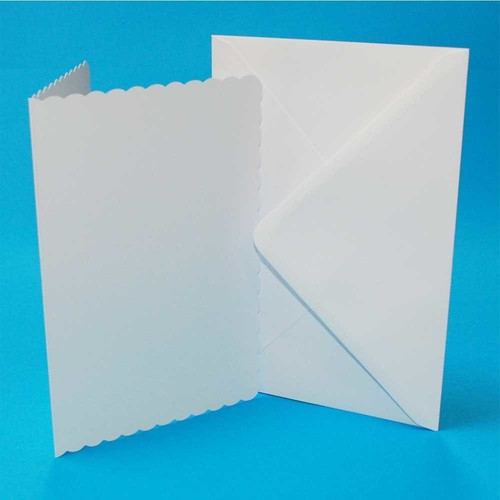 5 x Cards & Envelopes C5 White Scalloped 2(LINE838)