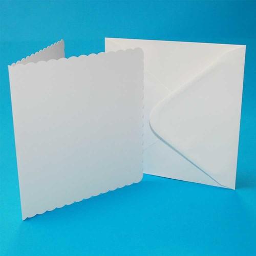 5 x Cards & Envelopes 8 x 8 White Scalloped 2(LINE839)