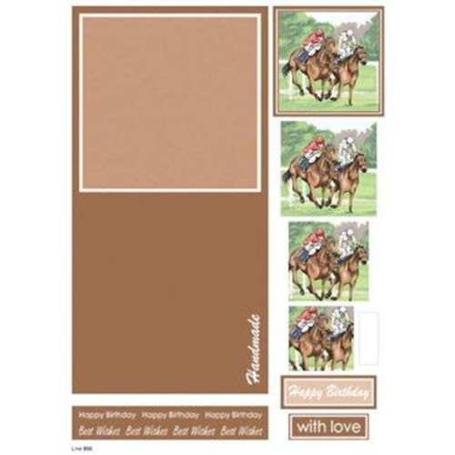Die Cut Decoupage Male Concept Cards Horse Racing