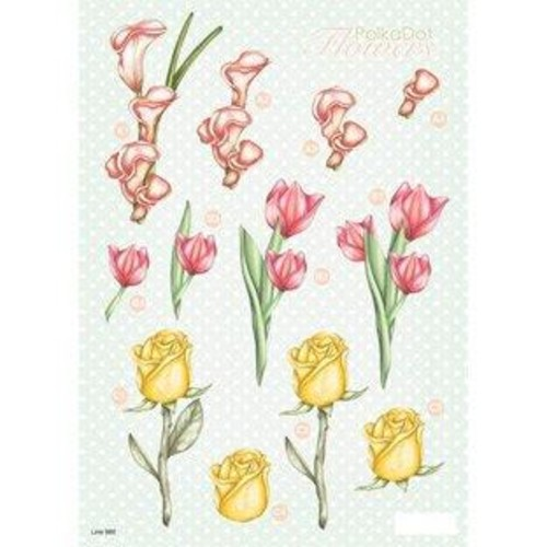 Polka Dot Flowers 3D Decoupage (LINE986)