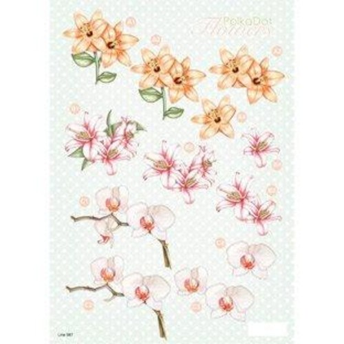 Polka Dot Flowers 3D Decoupage (LINE987)