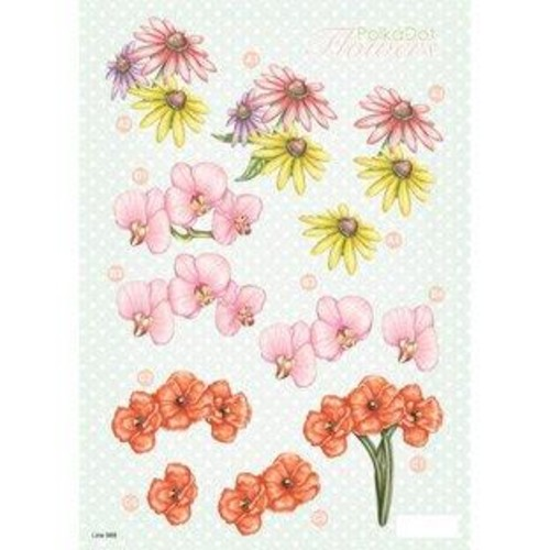 Polka Dot Flowers 3D Decoupage (LINE988)
