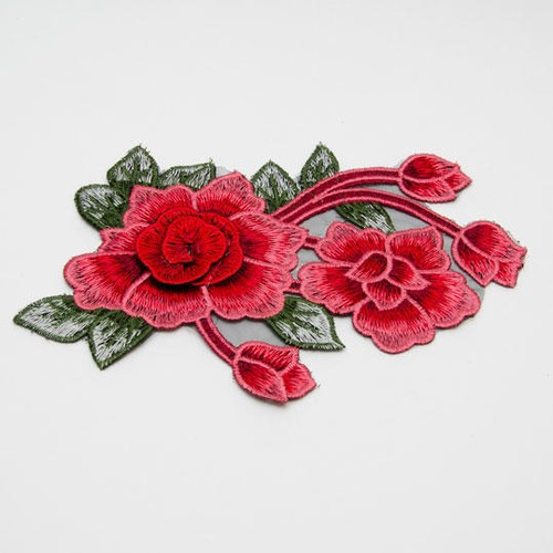 Embroidered Twin Flower Motif (M1610)