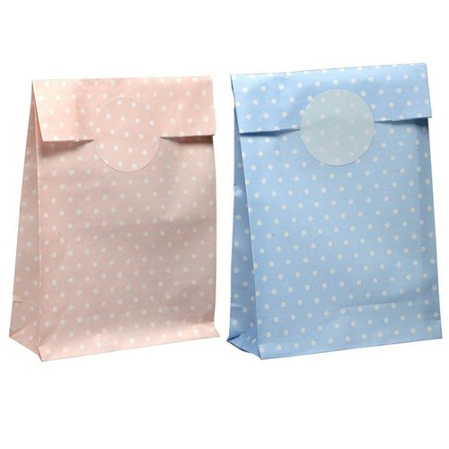 Polka Dot Paper Bags With Stickers (MAV84) (Pink)