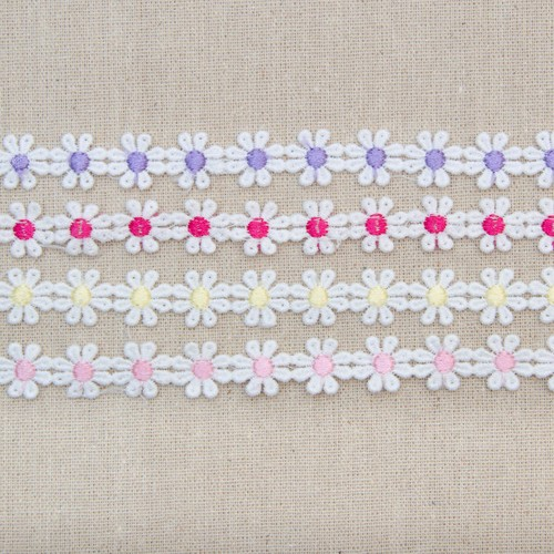 15mm Small Daisy Guipure Lace x 13.7m (MG21) (Pink)