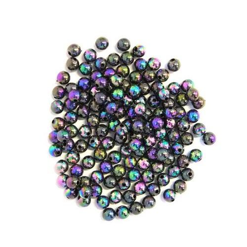 6mm Pearl Beads Round Black AB 10 Pack (PB6BAB)