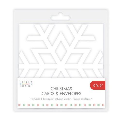 Simply Creative Snowflake Cards and Envelopes 5 Per Pack 5x7 Inch (SCCAE008)