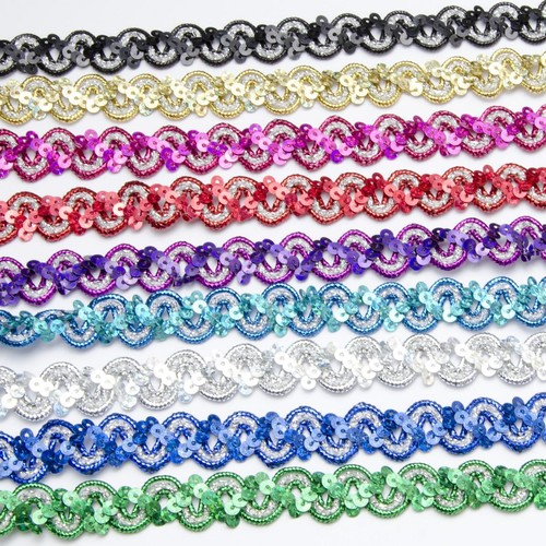 15mm Holographic Sequin Braid x 10m (SF1701) (Silver)