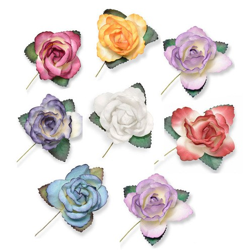 50mm Large Paper Rose Heads 12pcs App (SH807) Club Green (Cream)