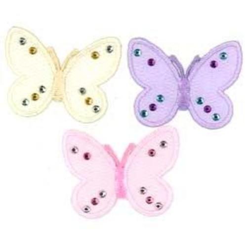 10 x Motif Organza Butterfly 45mm x 35mm (SM1297)(Pink)