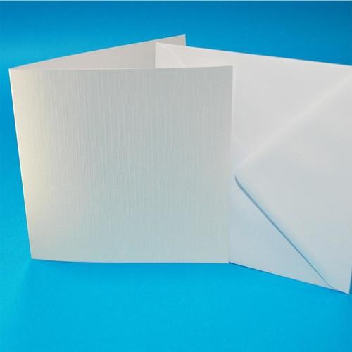 Cards & Envelopes 6 x 6 White Linen 50 Pack (W103)
