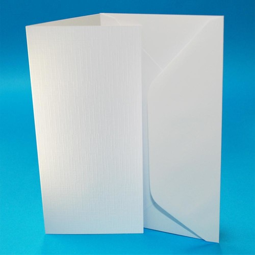 Cards & Envelopes DL White Linen 50 Pack (W107)