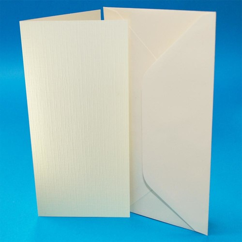 Cards & Envelopes DL Ivory Linen 50 Pack (W108)