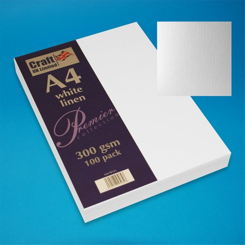 Premium A4 Cards Linen Finish White (W123)