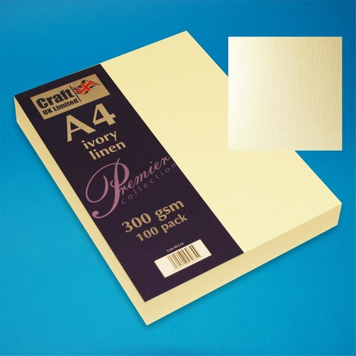 Premium A4 Cards Linen Finish Ivory (W124)
