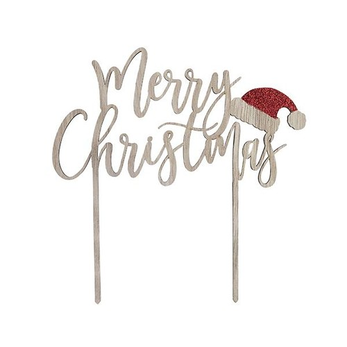 Wooden Merry Christmas Cake Topper (XM001) Club Green
